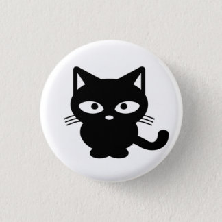 Fun Friendly Halloween Black Cat Kitty 3 Cm Round Badge