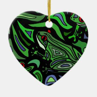 Fun Frog Abstract Art Ceramic Ornament