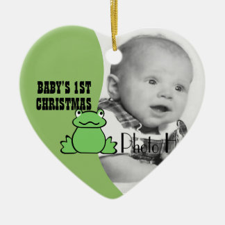 """Fun Frog """"Baby's First Christmas"""" Photo Ceramic Ornament"""