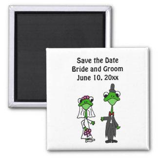 Fun Frog Bride and Groom Wedding Design Square Magnet
