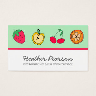 Nutritionist coach business cards business card printing zazzle fun fruits business card reheart Image collections