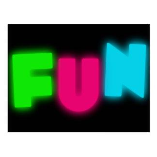 FUN Funky Groovy Neon Glow Blue Pink Green Letters Postcard