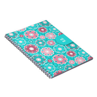 Fun funky pink and aqua floral monogram notebooks