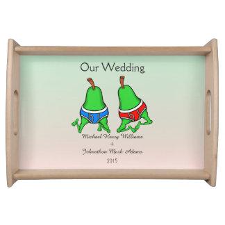 Fun Gay Pair Pear Wedding Keepsake Serving Tray