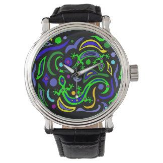 Fun Gecko Lizard Abstract Art Wrist Watches