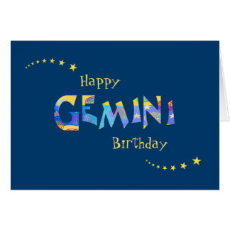 Fun GEMINI Zodiac Sign Birthday Greeting Greeting Card