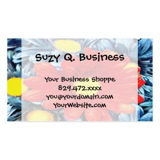 Fun Gerber Daisy Blue Orange Daisies Flower Business Card Template