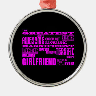 Fun Gifts for Girlfriends : Greatest Girlfriend Silver-Colored Round Decoration