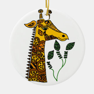 Fun Giraffe with Patterns Abstract Art Round Ceramic Decoration