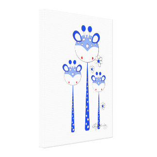 Fun Giraffes -- Blue Gallery Wrapped Canvas