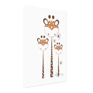 Fun Giraffes -- Brown Canvas Print