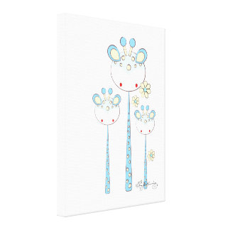 Fun Giraffes -- Light Blue Stretched Canvas Print