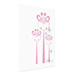 Fun Giraffes -- Pink Stretched Canvas Prints