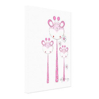 Fun Giraffes -- Pink Stretched Canvas Prints