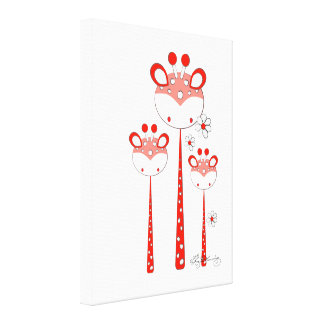 Fun Giraffes -- Red Canvas Prints