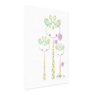Fun Giraffes -- Yellow And Blue Stretched Canvas Prints