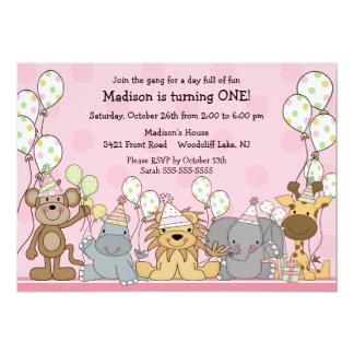 Fun Girls Safari Animals Birthday 13 Cm X 18 Cm Invitation Card