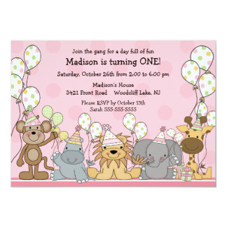 Fun Girls Safari Animals Birthday Card