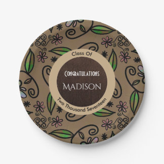 Fun & Girly Brown Abstract Floral Graduation Paper Plate