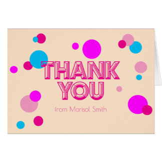 Fun Girly Confetti Pink Peach Thank you Note Card