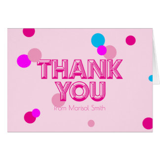 Fun Girly Confetti Pink Purple Thank you Note Card