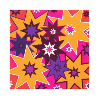 Fun Girly Star Pattern Pink Orange Purple Gallery Wrapped Canvas