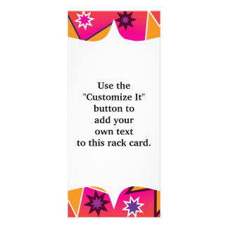 Fun Girly Star Pattern Pink Orange Purple Rack Card Template