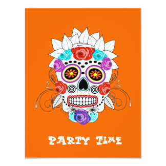 Fun Girly Sugar Skull and Roses Party Time Card