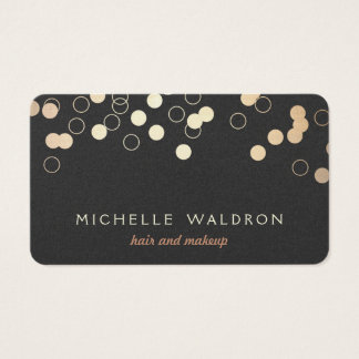 Fun Gold Foil Confetti Look Makeup Artist Black Business Card