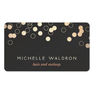 Fun Gold Foil Confetti Look Makeup Artist Black Pack Of Standard Business Cards