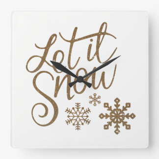 Fun Gold Sparkles Let it Snow Square Wall Clock
