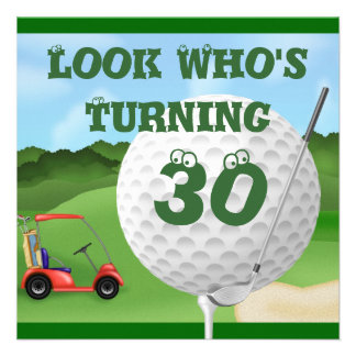 Fun Golf  30th Birthday Invitations TEMPLATE