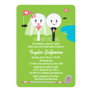 Fun Golf Ball and Tee Bride Groom Bridal Shower 13 Cm X 18 Cm Invitation Card