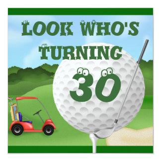 """FUN GOLFING 30th Birthday Invitations 5.25"""" Square Invitation Card"""