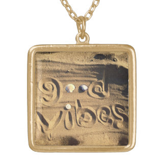 "Fun, ""Good Vibes"" Quote Drawn in Beach Sand Photo Gold Plated Necklace"