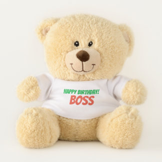 Fun Green and Orange Happy Birthday Boss Teddy Bear