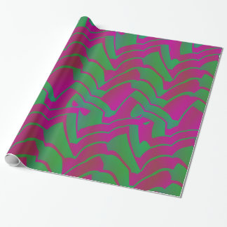 Fun Green and Pink Mish Mash Zigzag Pattern Wrapping Paper