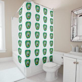 Fun Green Apple Washington State Flag Shower Curtain