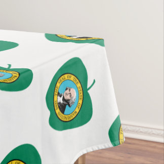 Fun Green Apple Washington State Flag Tablecloth