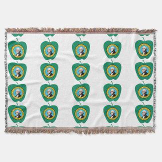 Fun Green Apple Washington State Flag Throw Blanket
