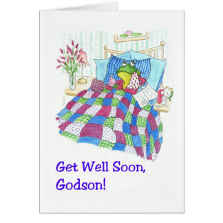 Fun Green Frog Get Well Soon for Godson Card