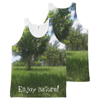Fun Green Nature Park Picture All-Over Print Singlet