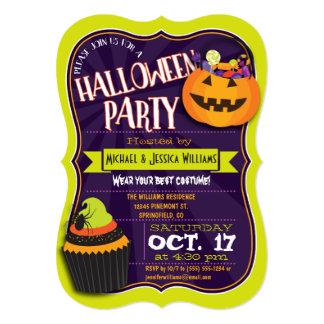 Fun Green & Purple Halloween Costume Party 13 Cm X 18 Cm Invitation Card