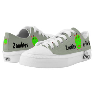 Fun Green Zombies Red Blood Low Tops