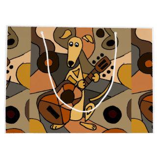 Fun Greyhound Dog Playing Guitar Modern Art Large Gift Bag