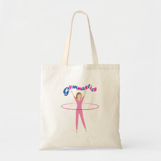 Fun Gymnastics text with Pink hula hooping girl Tote Bag