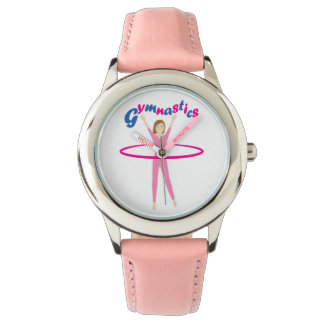Fun Gymnastics text with Pink hula hooping girl Watch