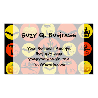 Fun Halloween Polka Dot Pattern Haunted House Business Cards