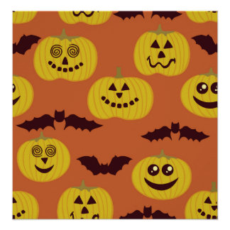 Fun Halloween Pumpkin Bat Design Print