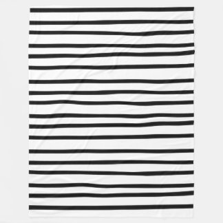 Fun Hand Drawn Stripe Black and White Abstract Art Fleece Blanket
